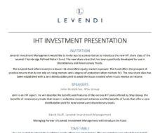 IHT Investment Presentation Invitation